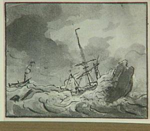 Schipbreuk op woelige zee