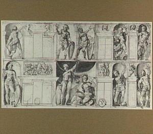 Ontwerp voor trompe-l'oeil decoratie van een muur met vensters (of: kasten, spiegels?)