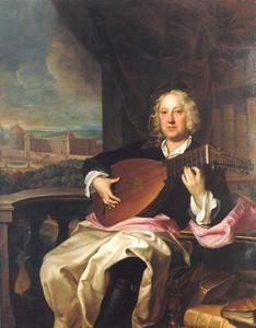 Portret van Johann Adam Graf von Questenberg (1678-1752) met in de achtergrond zijn paleis in Jaroměřice