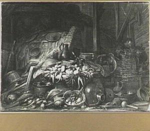 Stilleven van groente en aardewerk in een stal