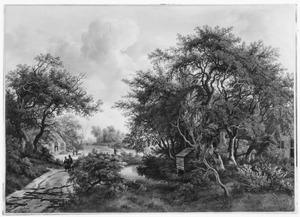 Landschap met boomgroep en boerderijen