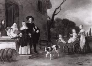 Familieportret, mogelijk van Cornelis van Wijckersloot, Maria Dibbout, hun kinderen en een min, met een zelfportret van de kunstenaar