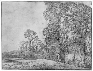 Landschap met boer, boerin en vee