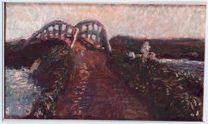 Landschap met brug over een rivier