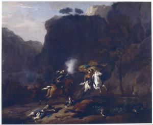 Berglandschap met een ruitergevecht
