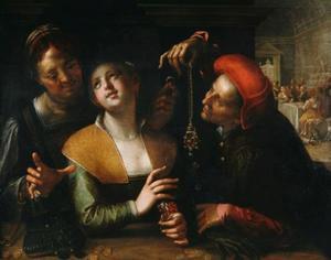 Koppelaarster, jonge vrouw en een man in een interieur