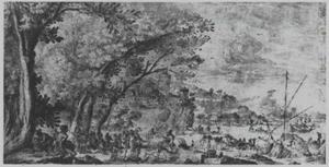 Landschap met poort, kasteel en figuren