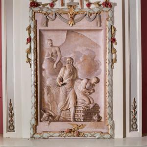 De engel weerhoudt Abraham om Isaak te offeren (Genesis 22:11-12)