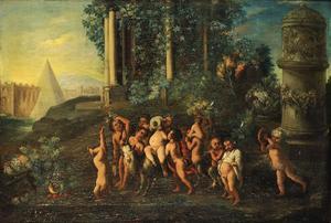 Kinder bacchanaal in een landschap: de triomf van Bacchus