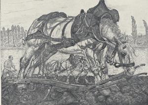 Ploegpaard aan de oevers der Seine