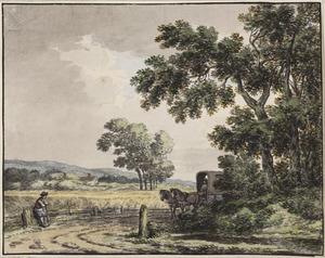 Landschap met paard en wagen op een weg