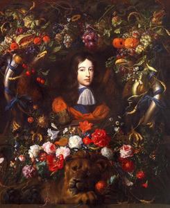 Portret van Willem III van Nassau (1650-1702) in een cartouche van bloemen en vruchten