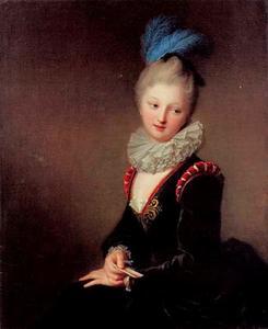 Portret van een jonge vrouw met een liefdesbrief