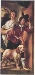 Een jonge vrouw en een jonge man met een hond in de deuropening