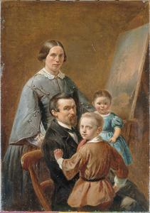 Familieportret van een schilder, zijn vrouw en twee kinderen