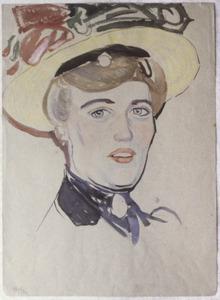 Portret van een vrouw met gele strohoed