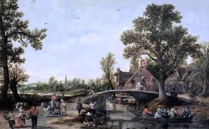 Landschap met een vaart in een dorp