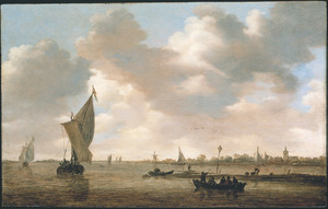 Rivierlandschap met boten bij een landtong