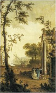 Italianiserend landschap met elegant paar bij een ruïne