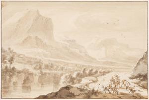 Berglandschap en herders met hun vee op een weg langs de rivier