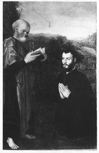 Portret van een stichter knielend voor de H. Petrus
