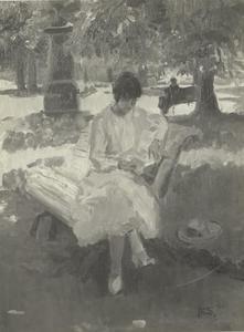 Lezend meisje op een bank in het park