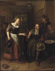 Rokend en drinkend gezelschap in een herberg