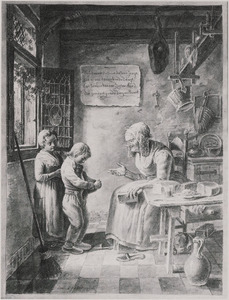 Oude vrouw en twee biddende kinderen in interieur