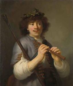 Rembrandt als fluitspelende herder