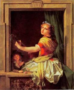 Jonge vrouw met gitaar in venster