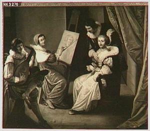 Een schilderes die in haar atelier een vrouw portretteert