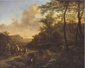 Italianiserendd berglandschap met herders op weg