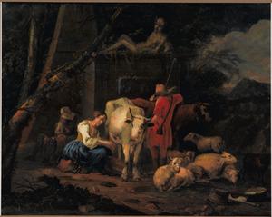 Zuidelijk landschap met herders en hun vee rustend bij een monument met een beeld van Mercurius