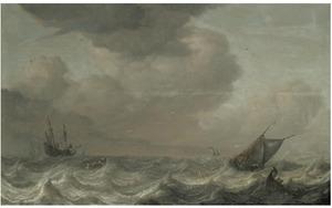 Schepen op een ruwe zee; rechts op de achtergrond het silhouet van een stad