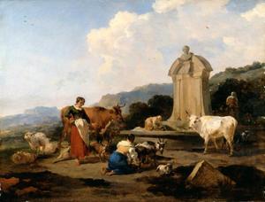 Herderinnen en wasvrouwen bij een fontein, geïnspireerd op de fontein op het Forum Romanum in Rome