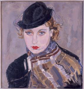 Portret van een vrouw met zwart hoedje