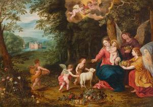 Maria en kind vereerd door engelen en de H. Johannes de Doper in een boslandschap