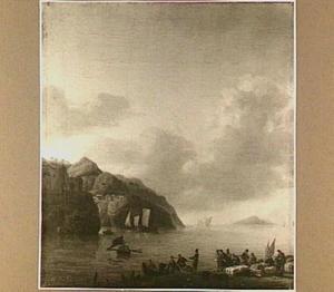 Mediterraan kust gezicht met in de voorgrond het laden of lossen van een roeiboot