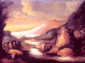 Berglandschap met wandelaars bij een rivier