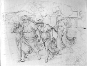 Lot en zijn gezin vluchten uit Sodom en Gomorra (Genesis 19:24-29)
