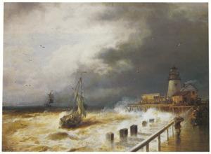 Storm op de Hollandse kust met vuurtoren en pier