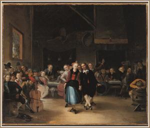 Dansend bruidspaar in een herberginterieur met muzikanten en toeschouwers