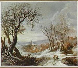 Winterlandschap met houtsprokkelaars