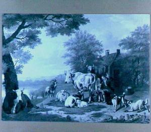 Landschap met vee en boerin die een koe melkt