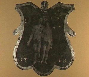 Begrafenisschild van het Appelkopersgilde: voorstelling van Adam en Eva