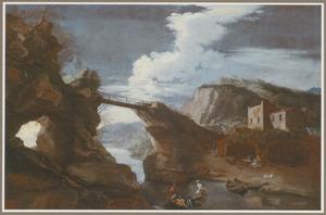 Zuidelijk berglandschap met een houten brug