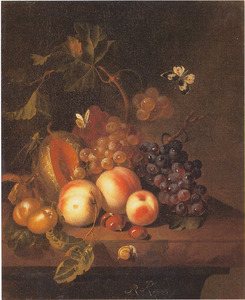 Vruchtenstilleven op een marmeren plint