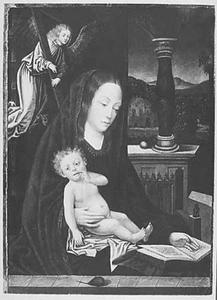 Maria met kind en engel met kruis