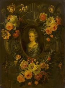 Bloemguirlande rond een portret van een vrouw
