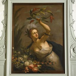 Helpster van Flora met bloemenmand en krans